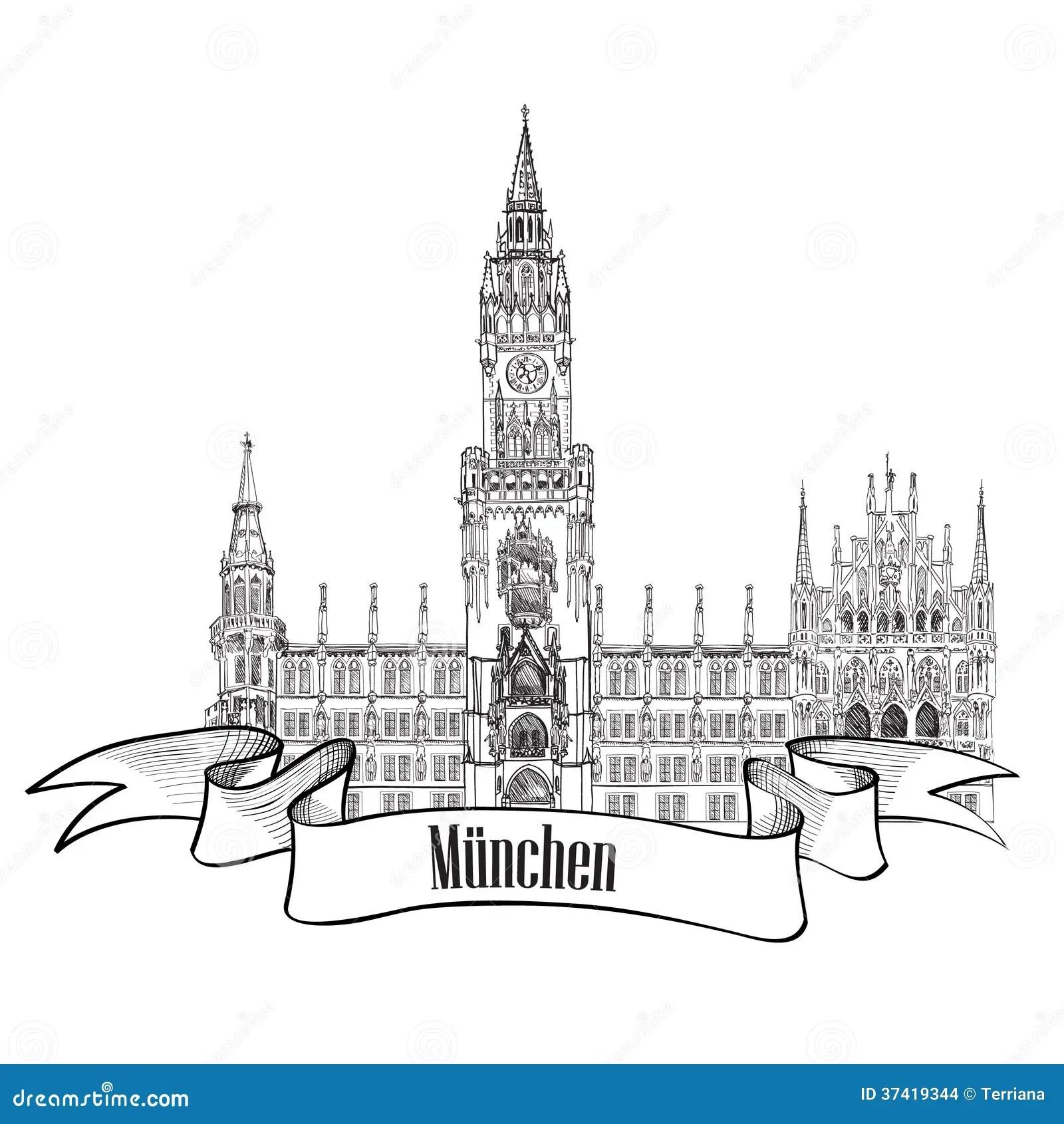 Monaco Di Baviera Germania Illustrazione Dell Etichetta