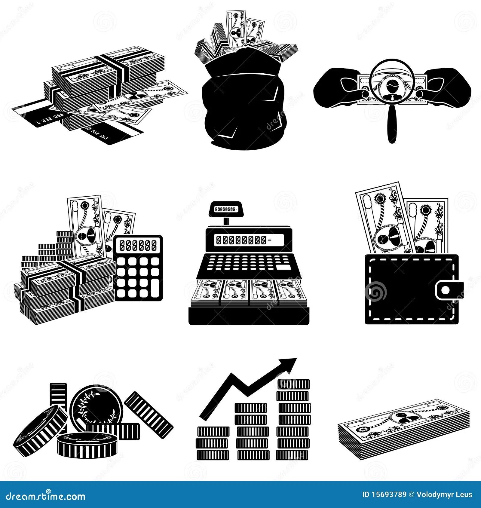 Money Black And White Icon Set Stock Vector