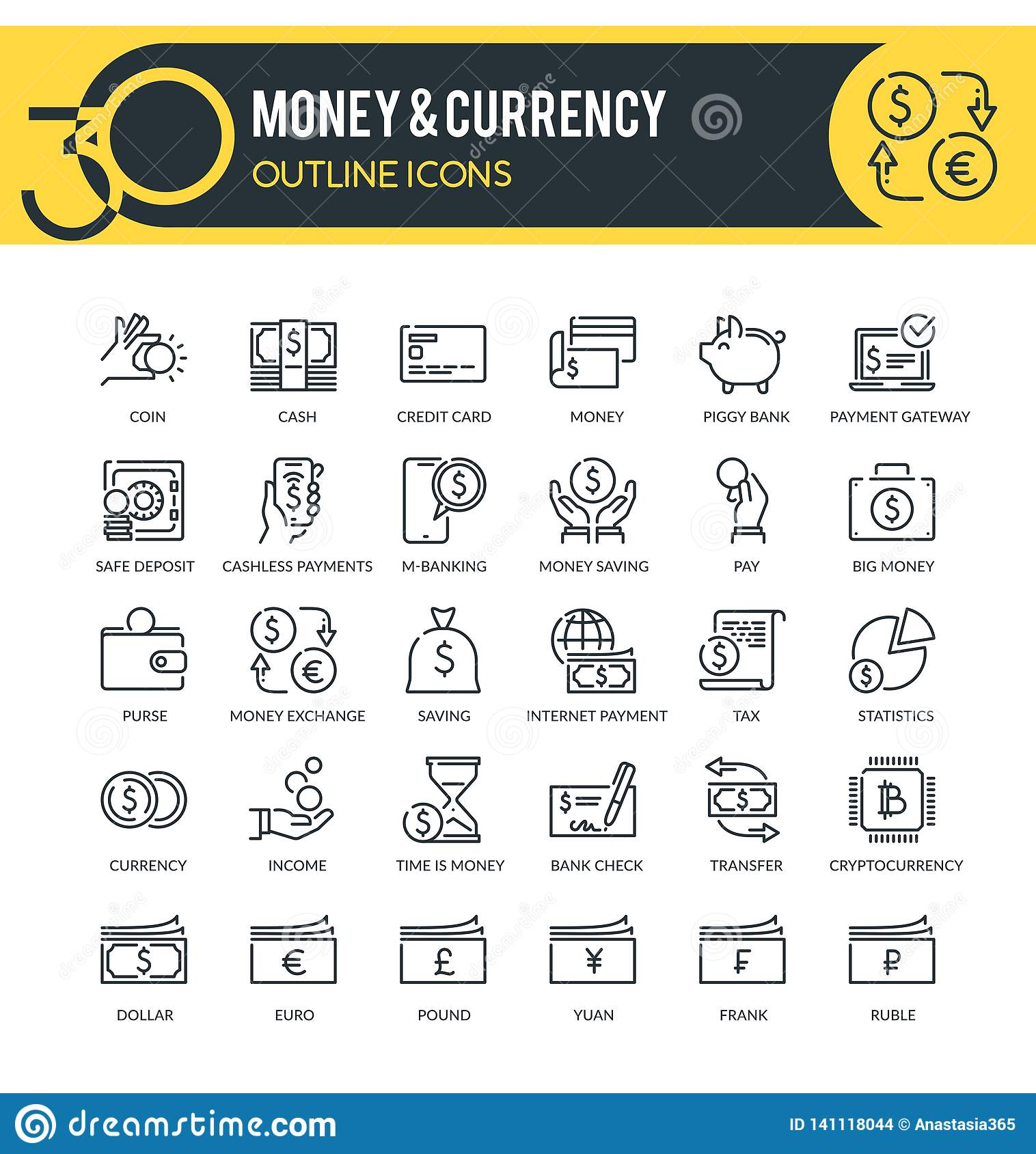 Money And Currency Outline Icons Stock Illustration