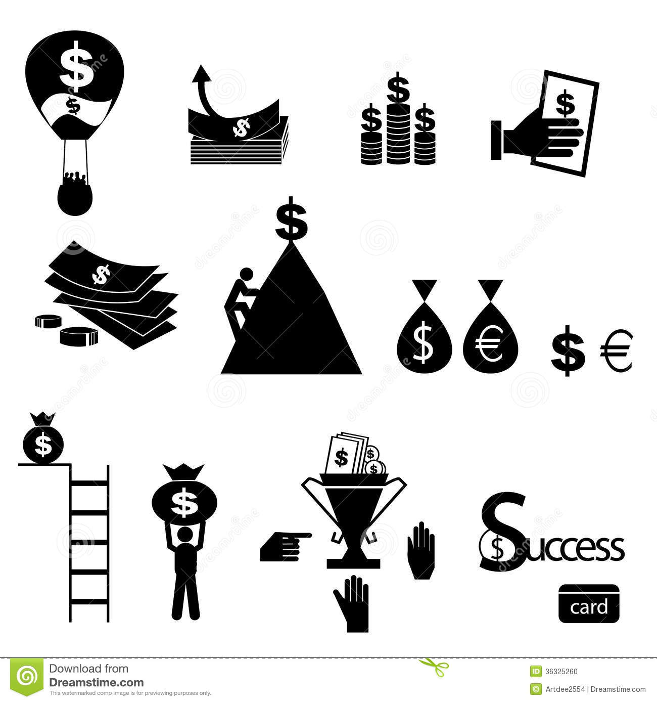Money Icons Set Vector Stock Vector Illustration Of Icons