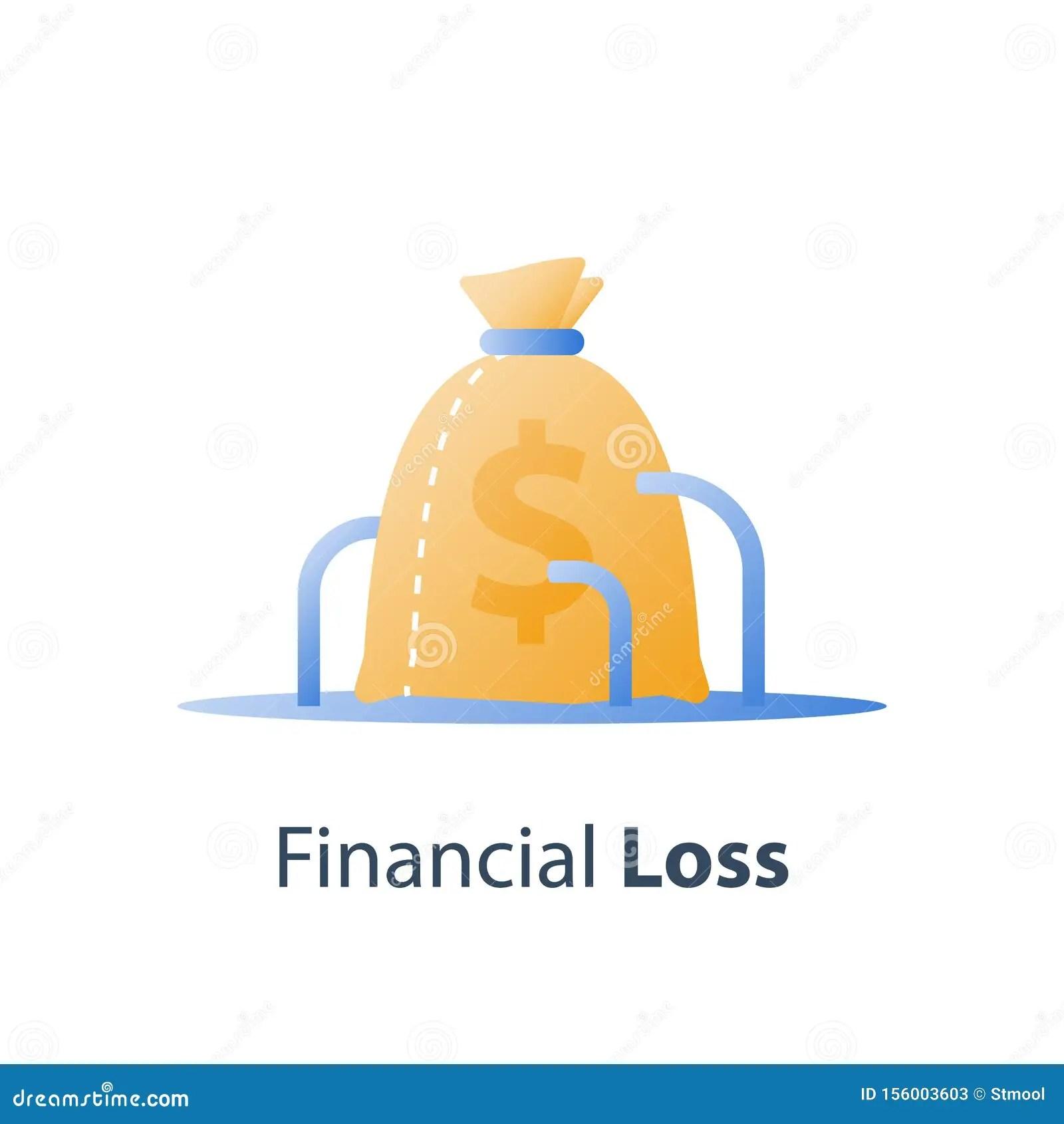 Money Loss Sunken Cost Concept Lack Of Finance Stock