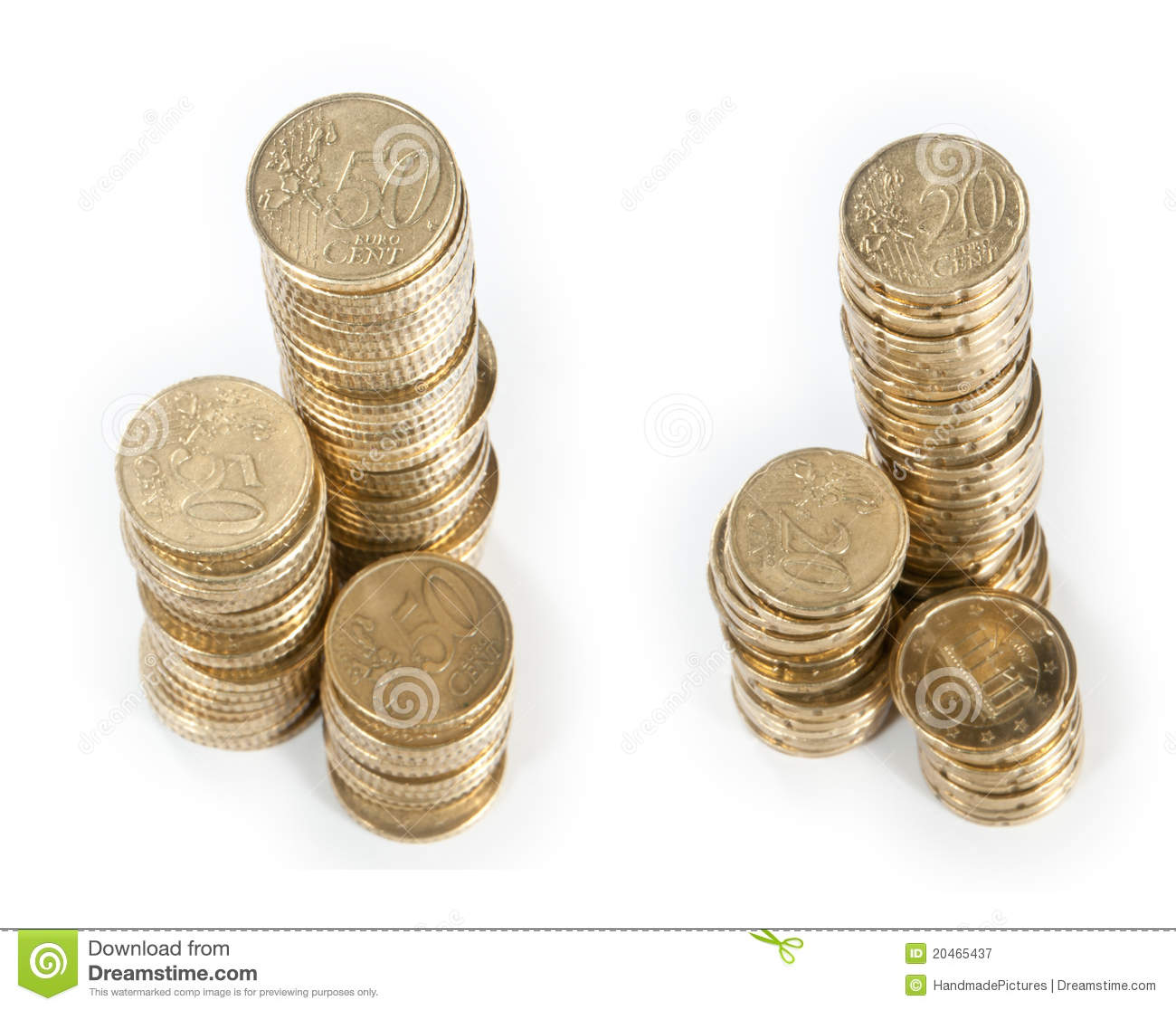 Money Stacks 20 Cent And 50 Cent Stock Image