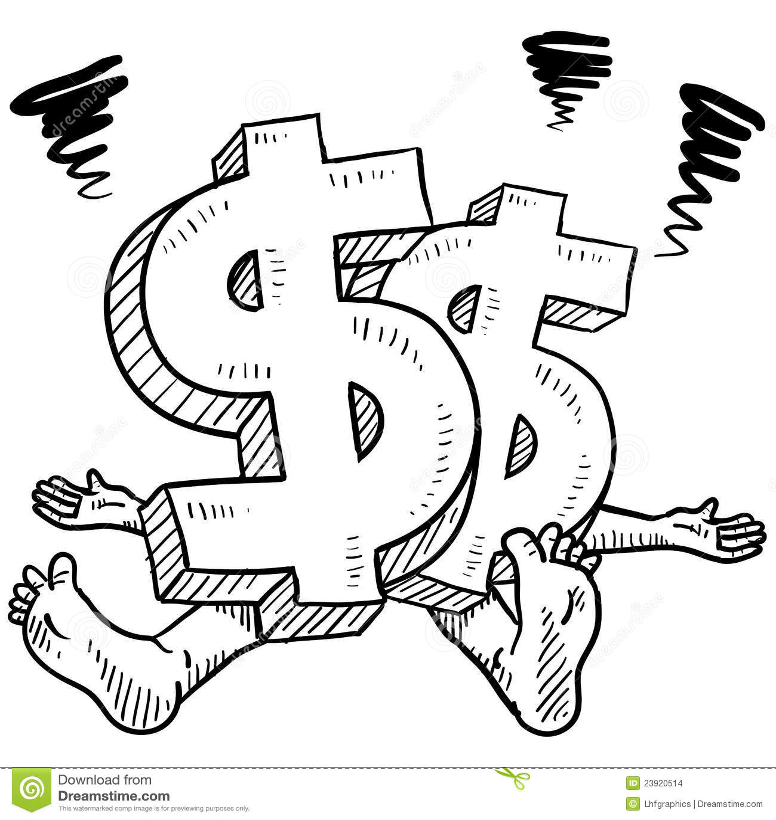 Money Stress Vector Sketch Stock Vector Illustration Of