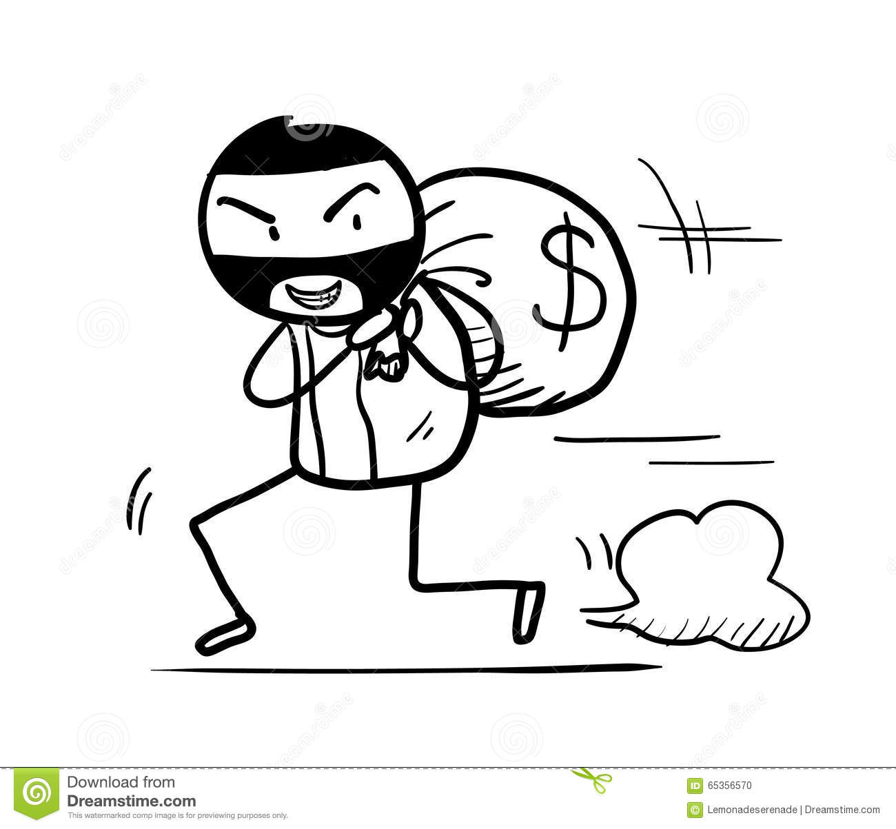Money Theft Doodle Stock Vector Illustration Of Away