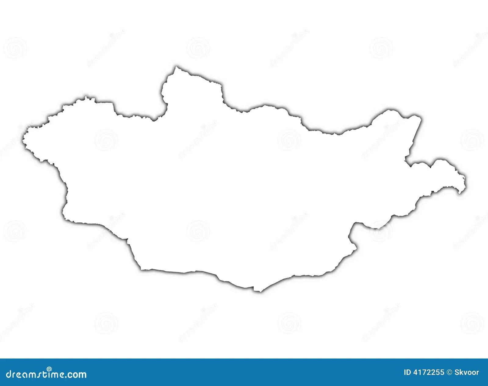 Mongolei Karte Mit Schatten Stock Abbildung