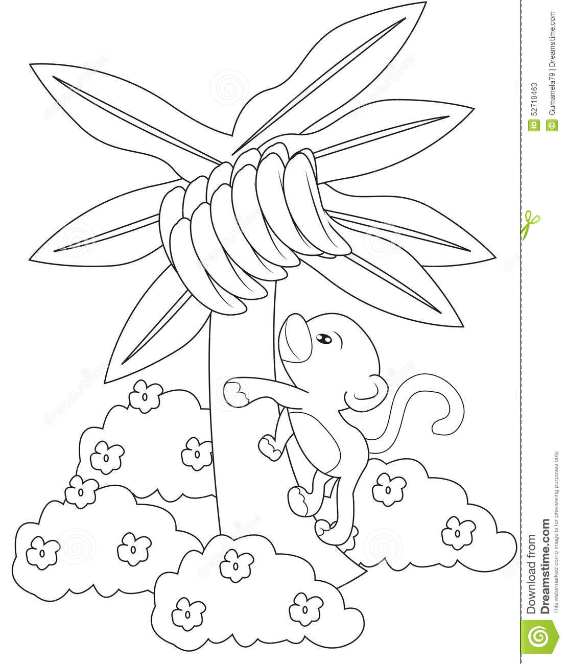 banana tree coloring page sketch template
