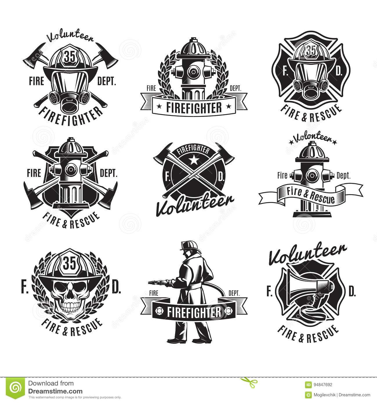 Monochrome Firefighting Labels Set Stock Vector