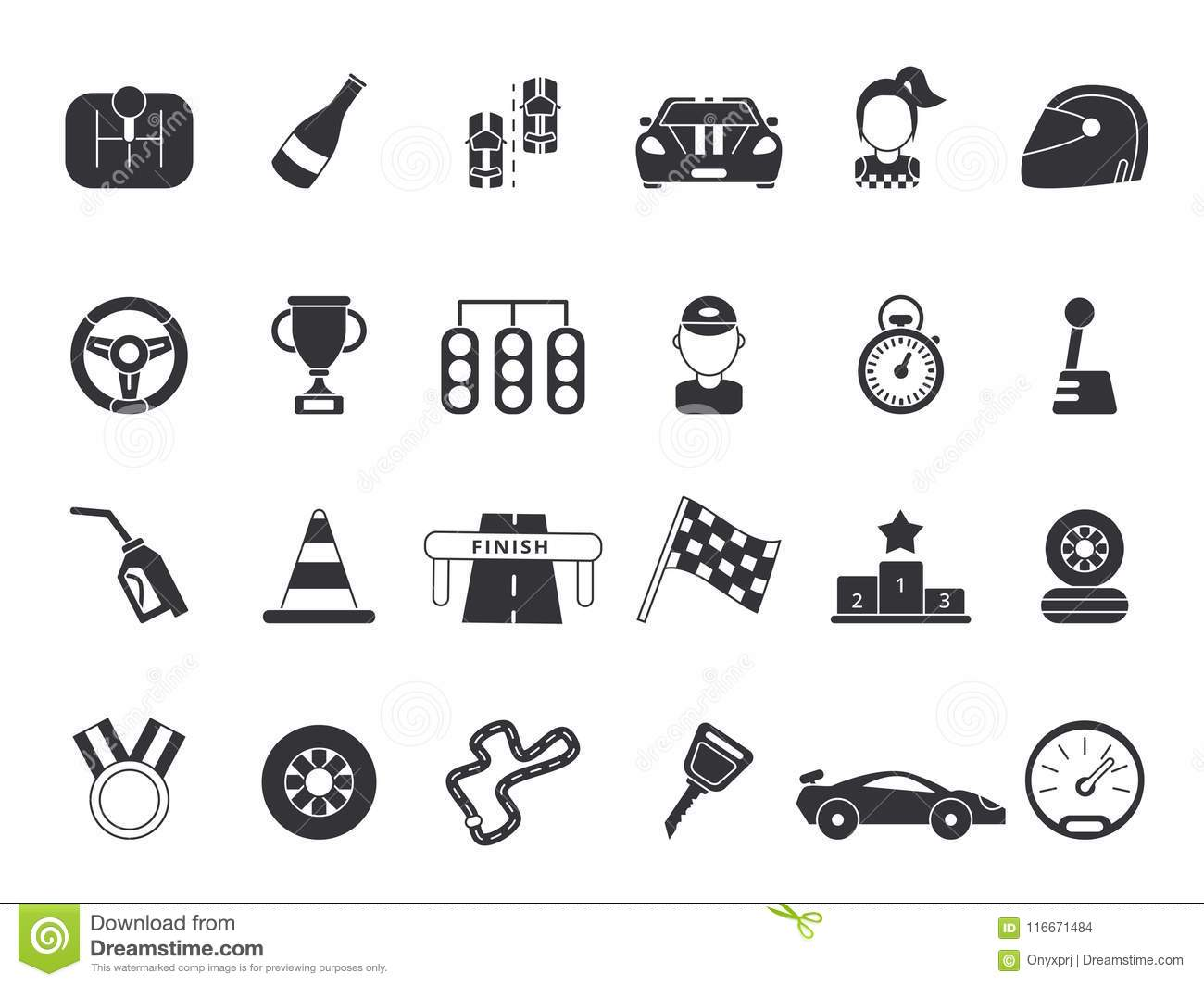Monochrome Pictures Set Of Sport Symbols For Formula 1 And