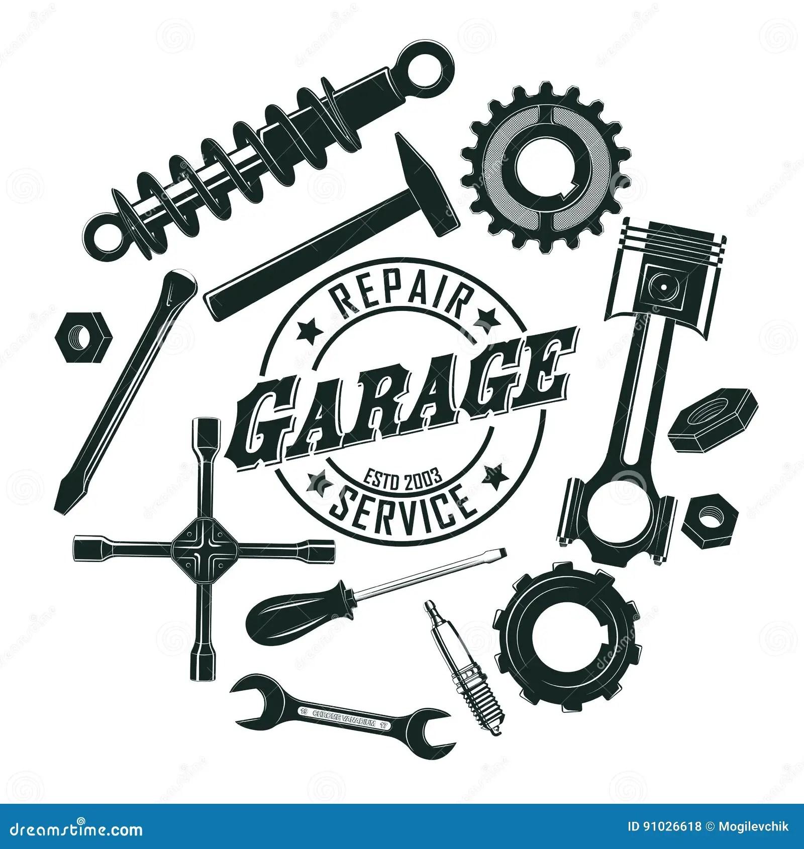 Monochrome Vintage Garage Tools Round Concept Stock Vector