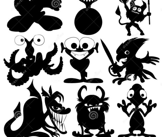 Monster Black Silhouettes