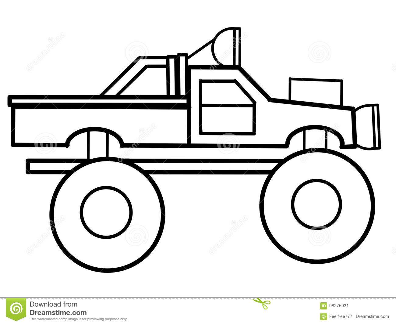 Monster Truck Educational Coloring Pages Stock