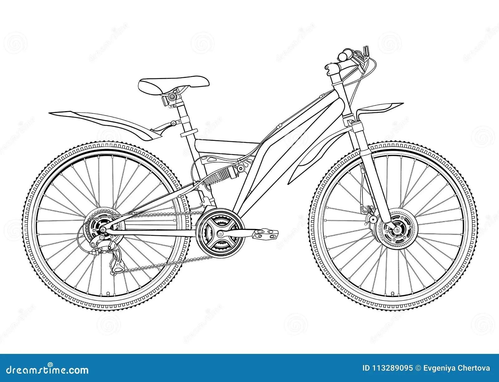 Monte En Bicicleta El Dibujo Del Contorno Del Vector