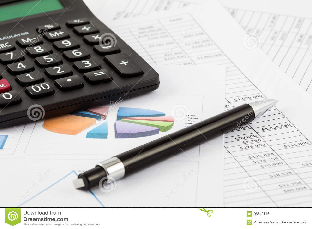 Monthly Budget Spreadsheet Pen And Calculator Stock Photo
