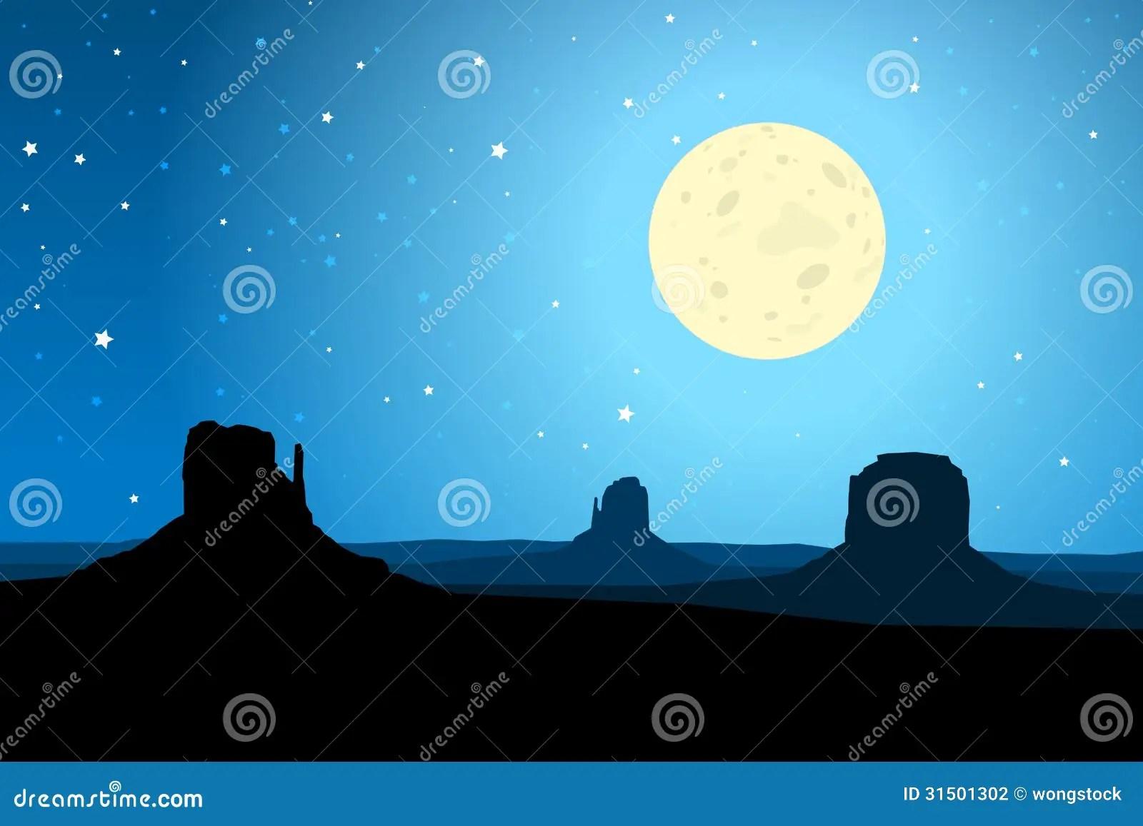 Monument Valley Arizona Agaist A Starry Night Sky EPS10
