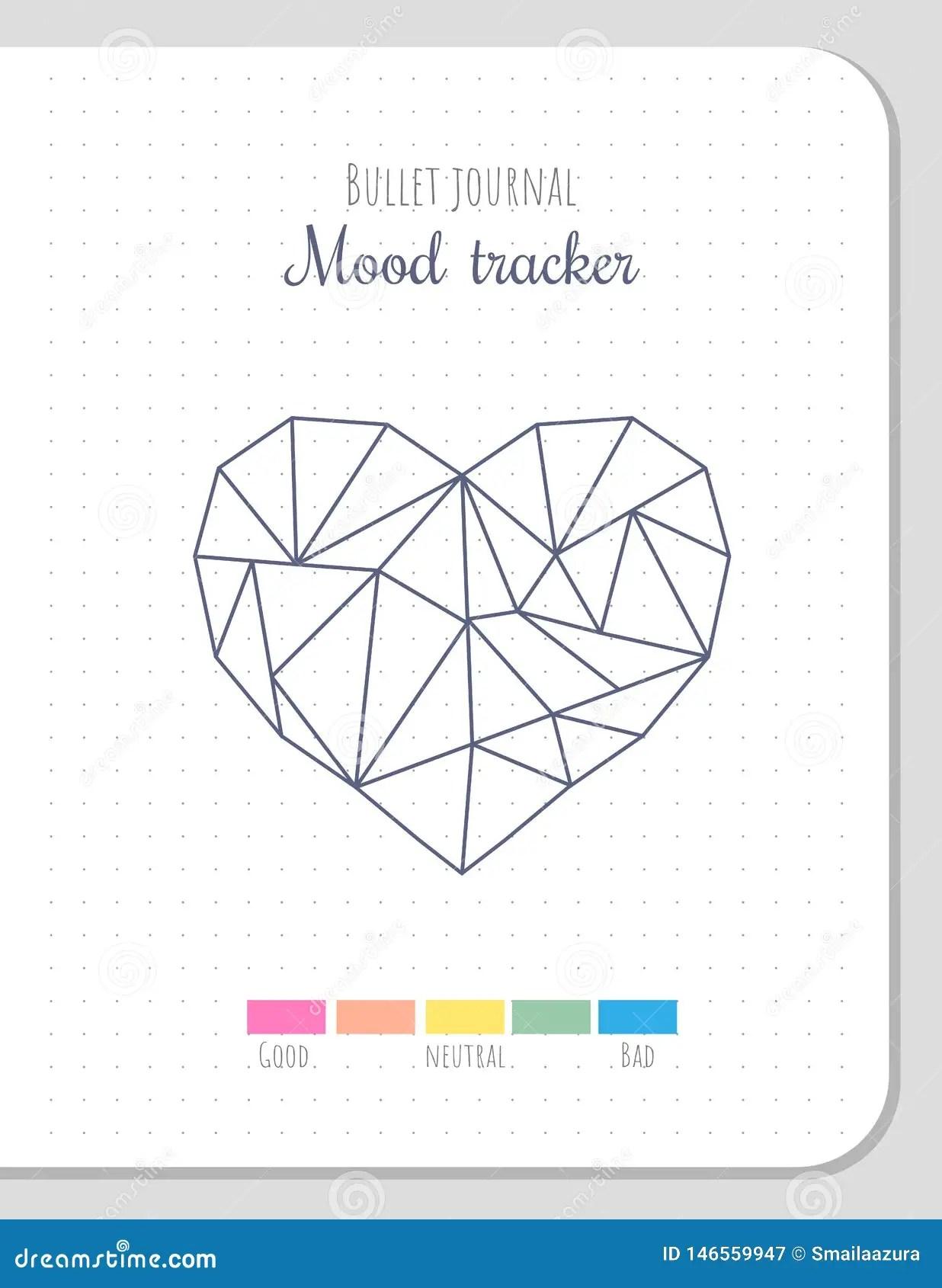 Mood Tracker In Polygonal Heart Shape Blank Template