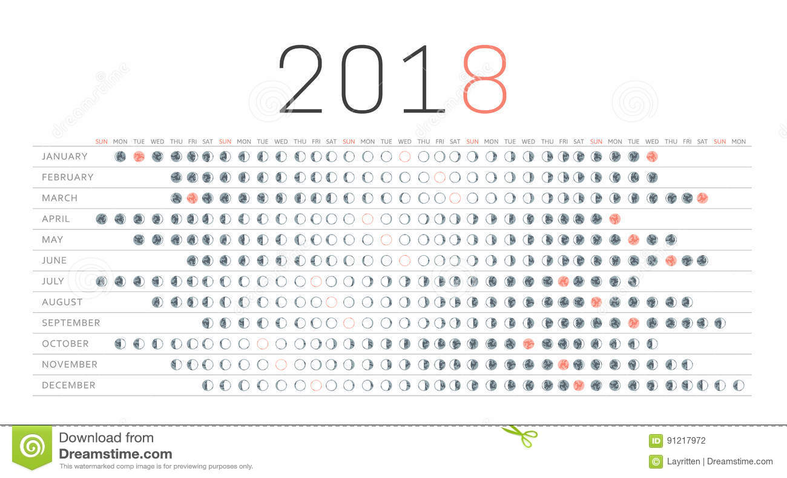 Moon Calendar Stock Vector Illustration Of Dark