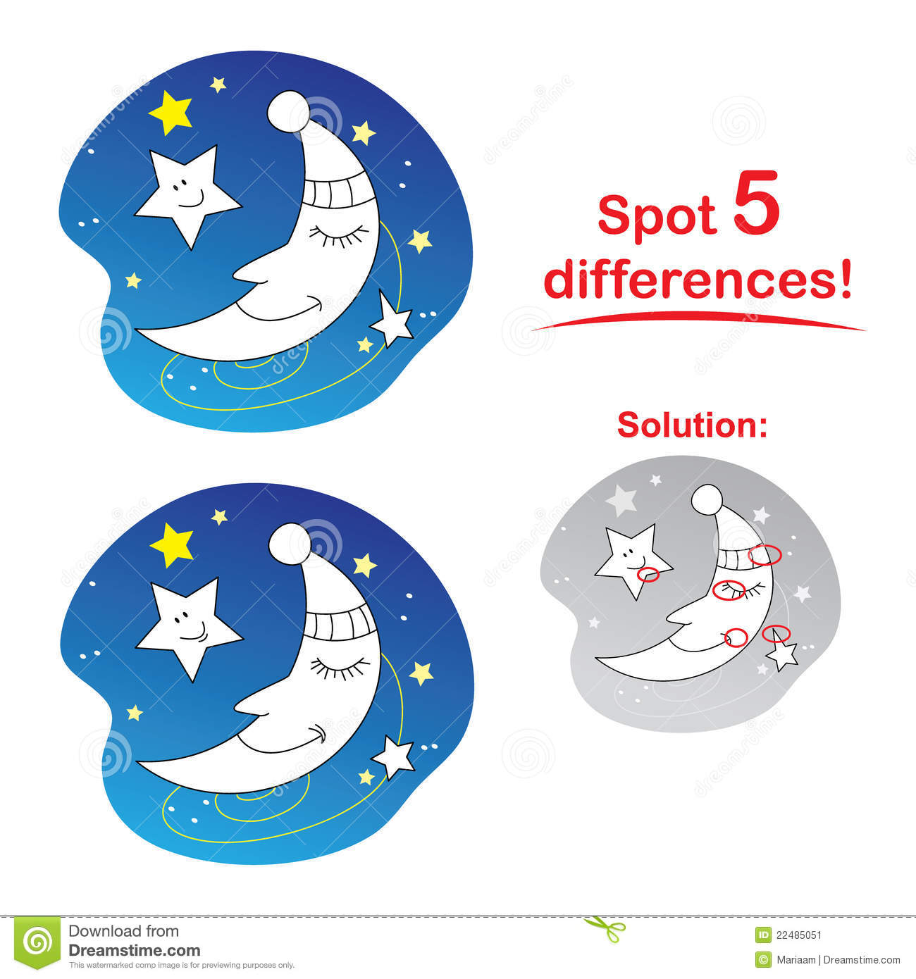 Moon Cartoon Spot 5 Differences Stock Illustration