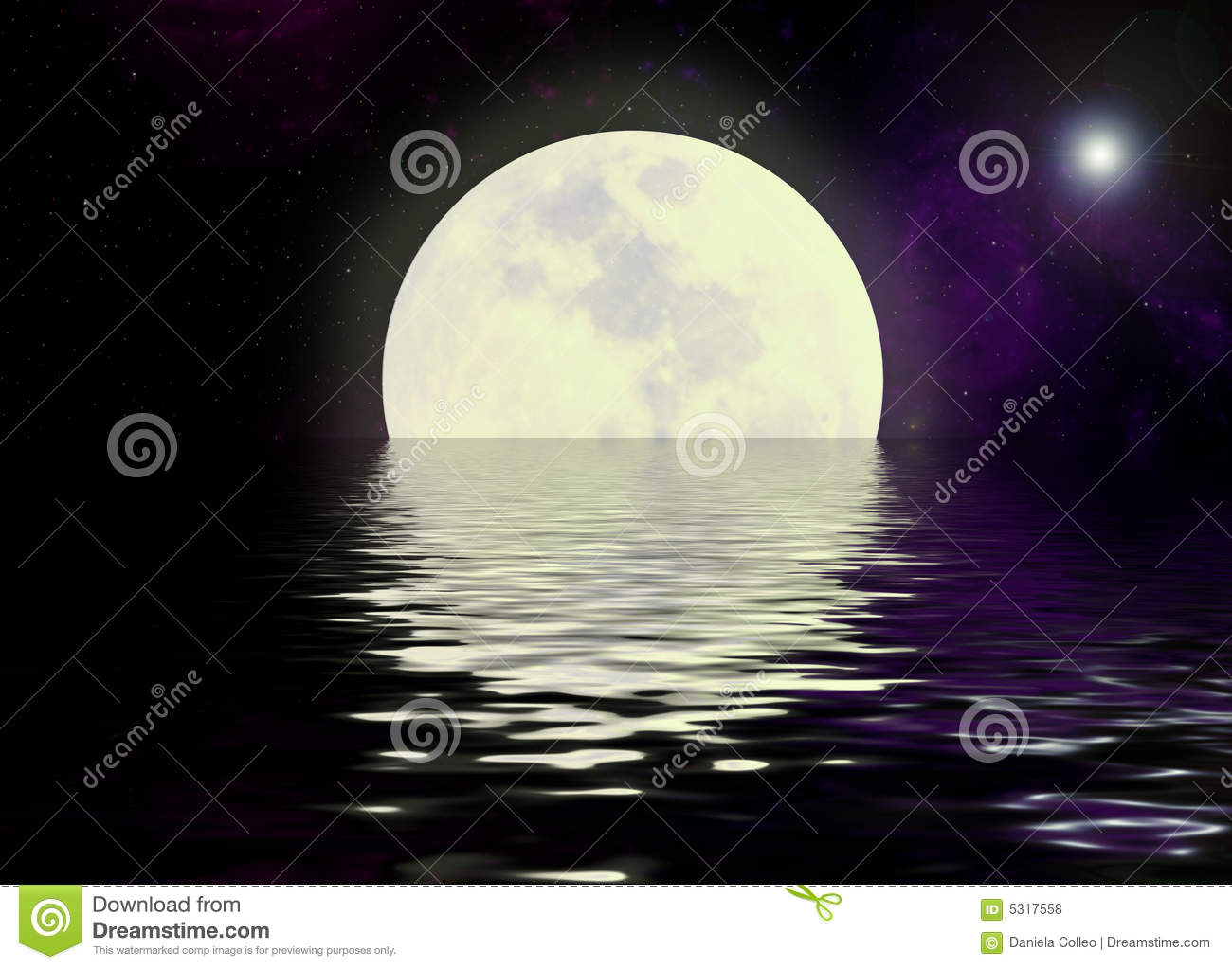 Moon And Water Reflection Stock Photo Image Of Astronomy