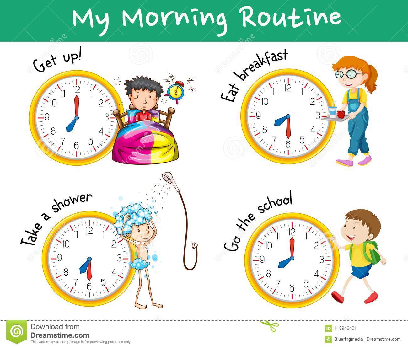 Morning Routines With Clocks And Children Stock Vector