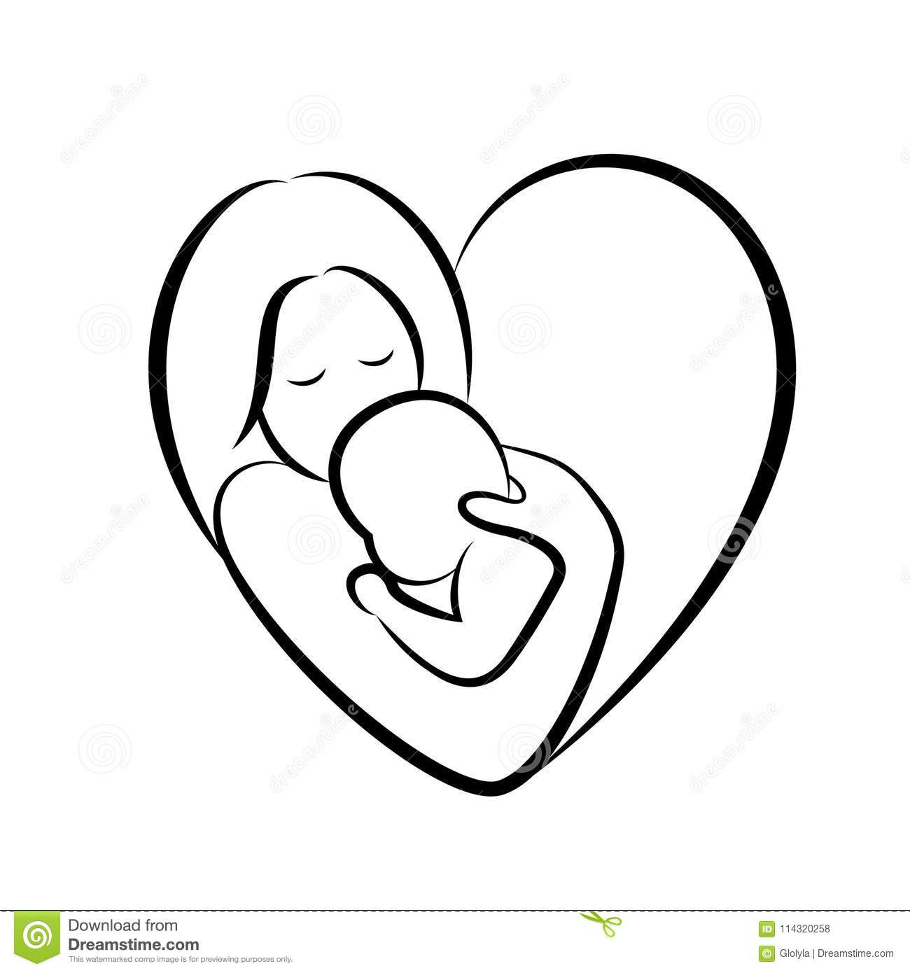 Mother And Baby Stylized Symbol In Heart Shape Stock
