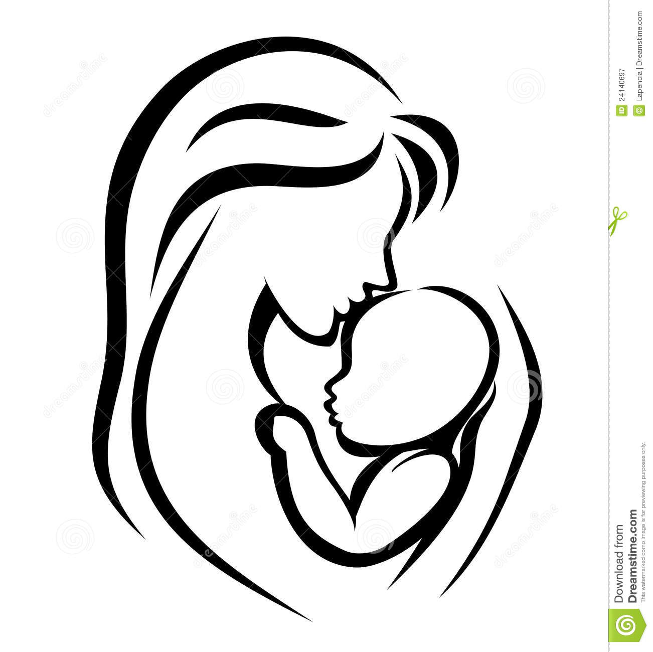 Mother And Baby Symbol Stock Vector Illustration Of