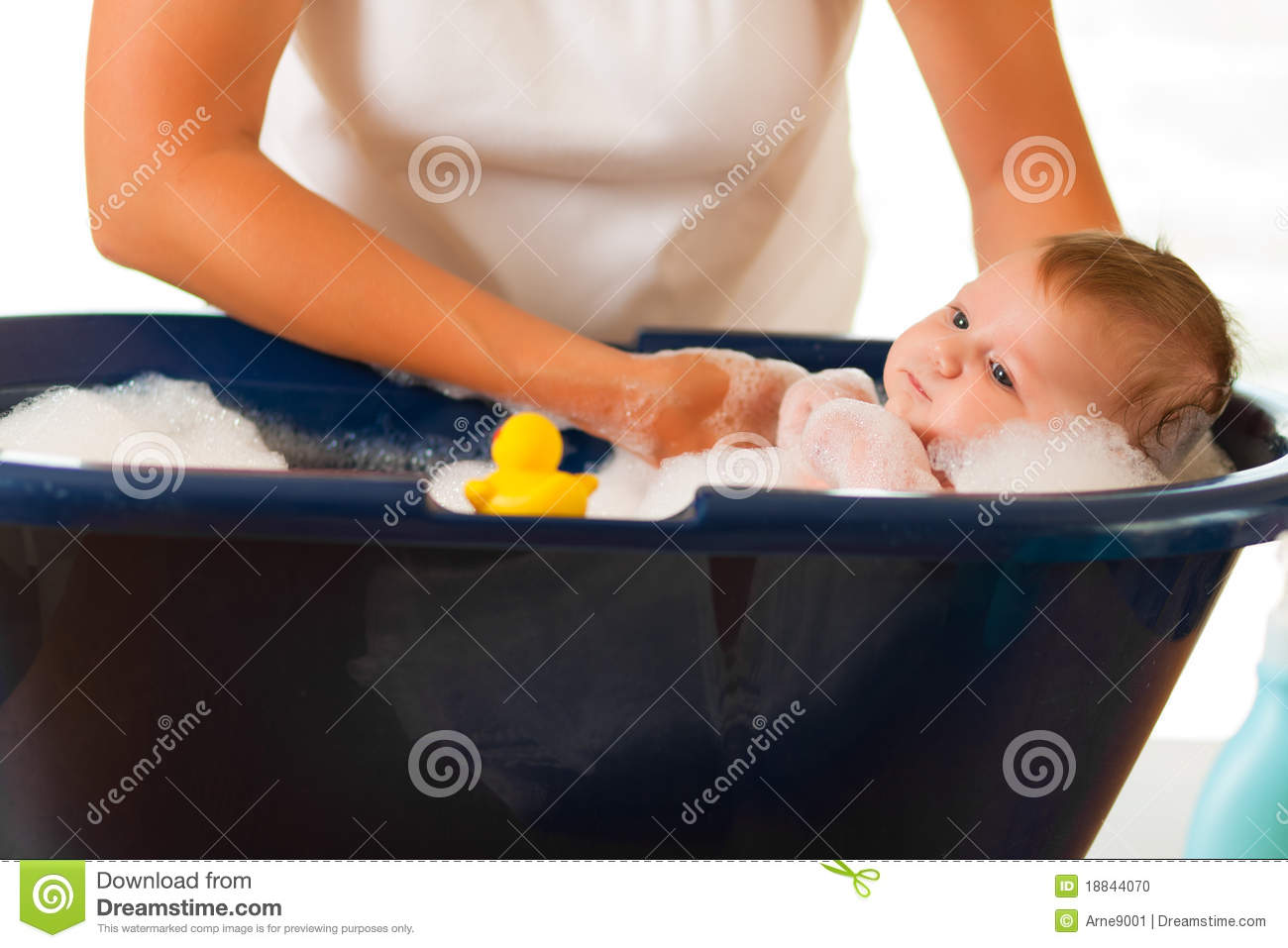 Mother Is Bathing Her Baby Stock Photo Image Of