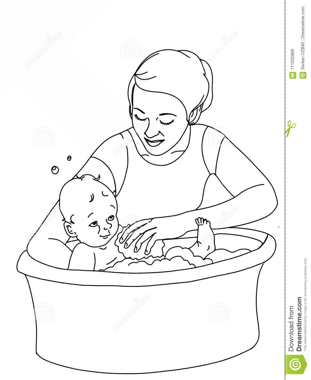 Mother Bathing Her Baby Illustration White
