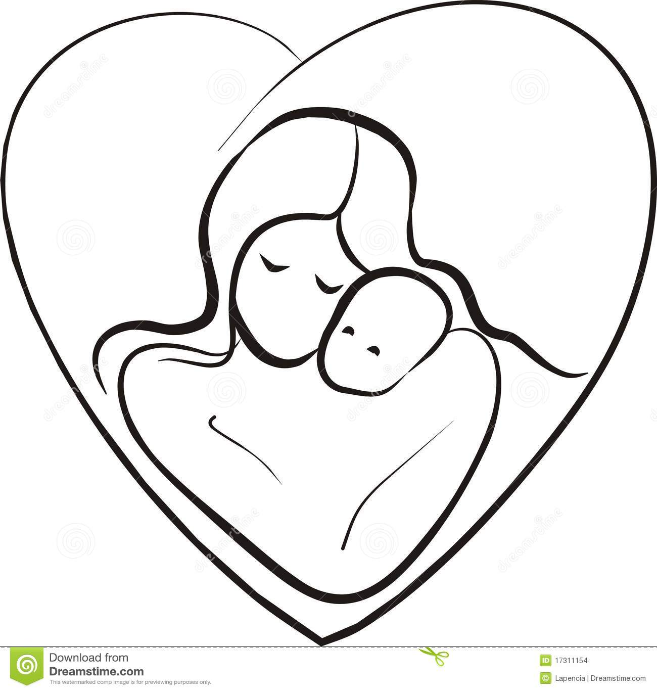Mother And Child Sketch Stock Vector Illustration Of