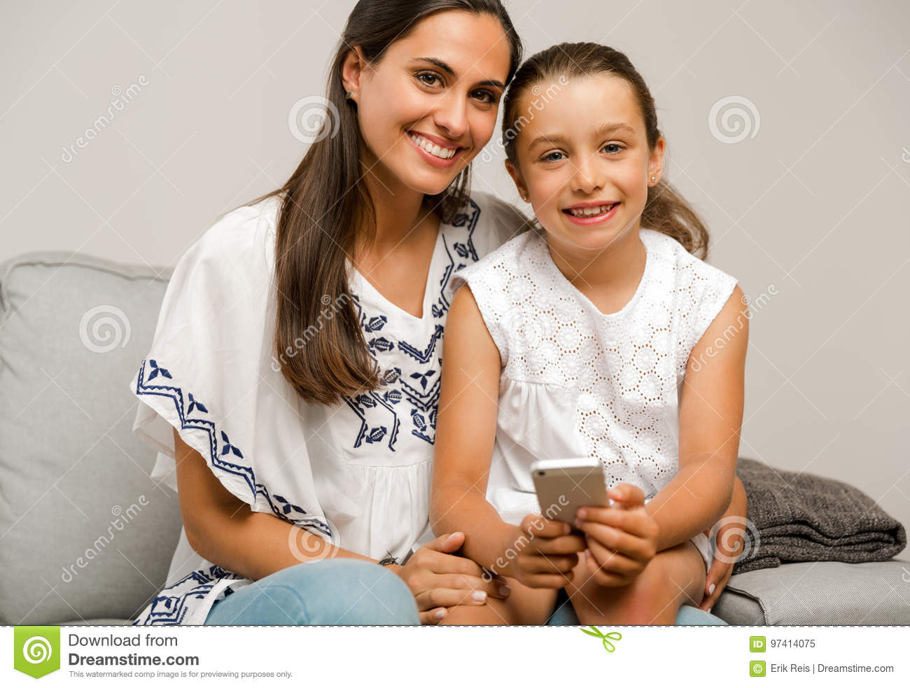 Mother And Daughter At Home Stock Image