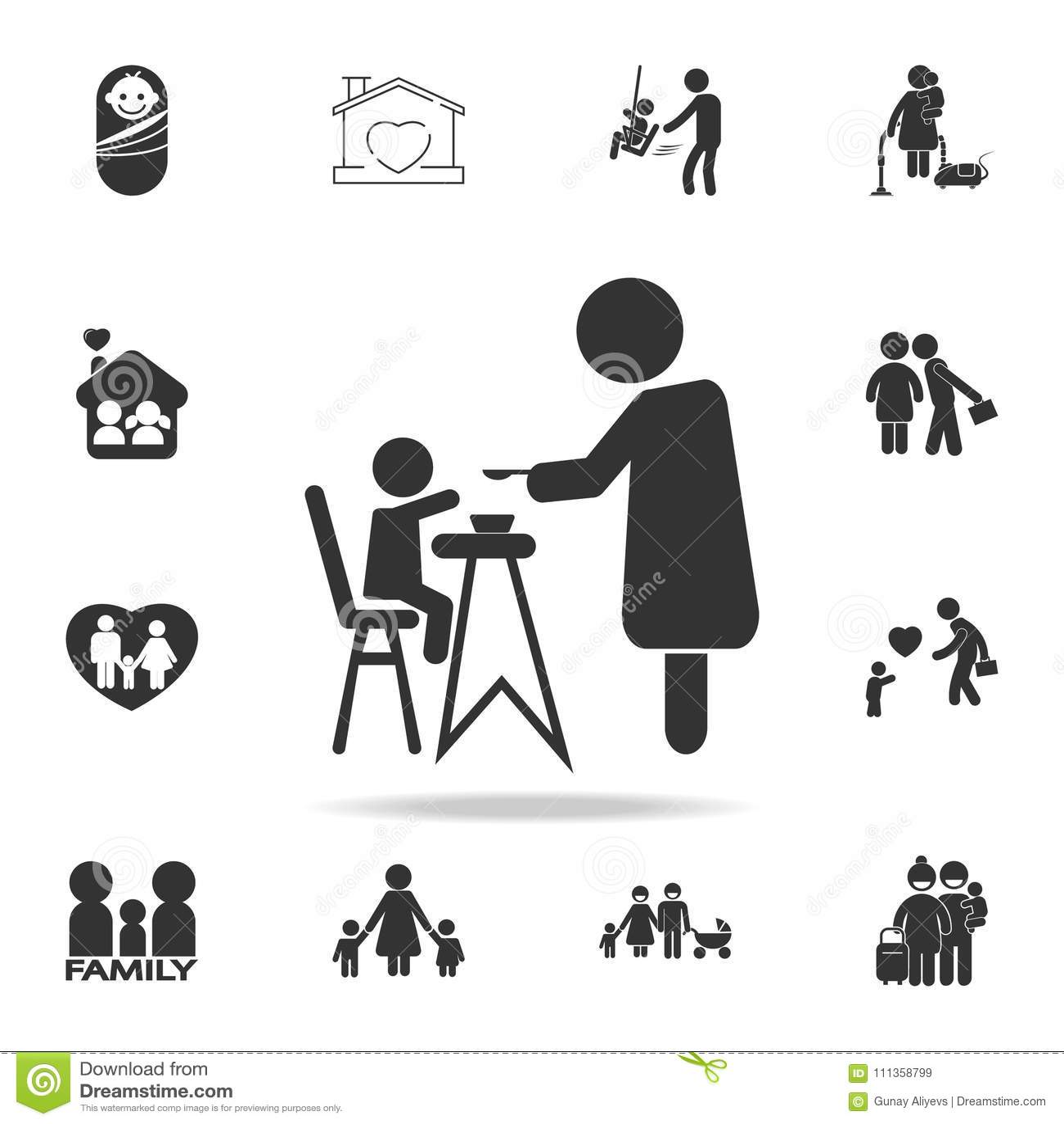 Baby Feeding Flat Icons Set Vector Illustration