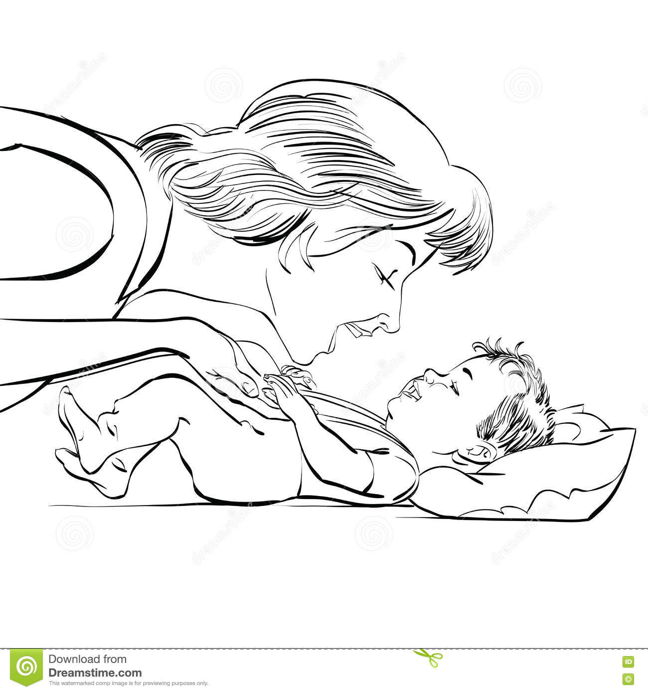 Mother And Newborn Baby Love Stock Vector