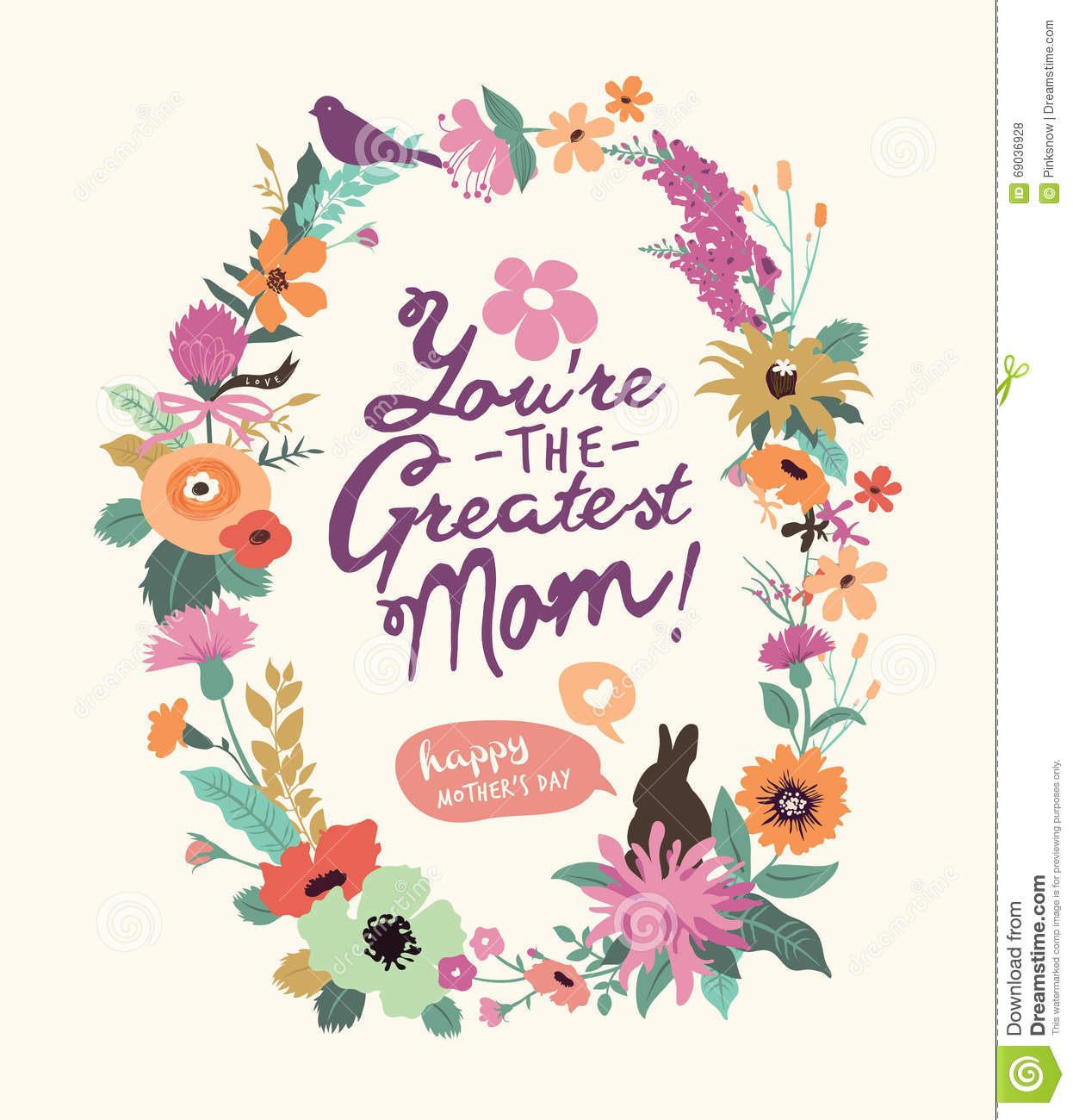 Greeting Card For Mom With Cute Rabbit Cartoon Vector