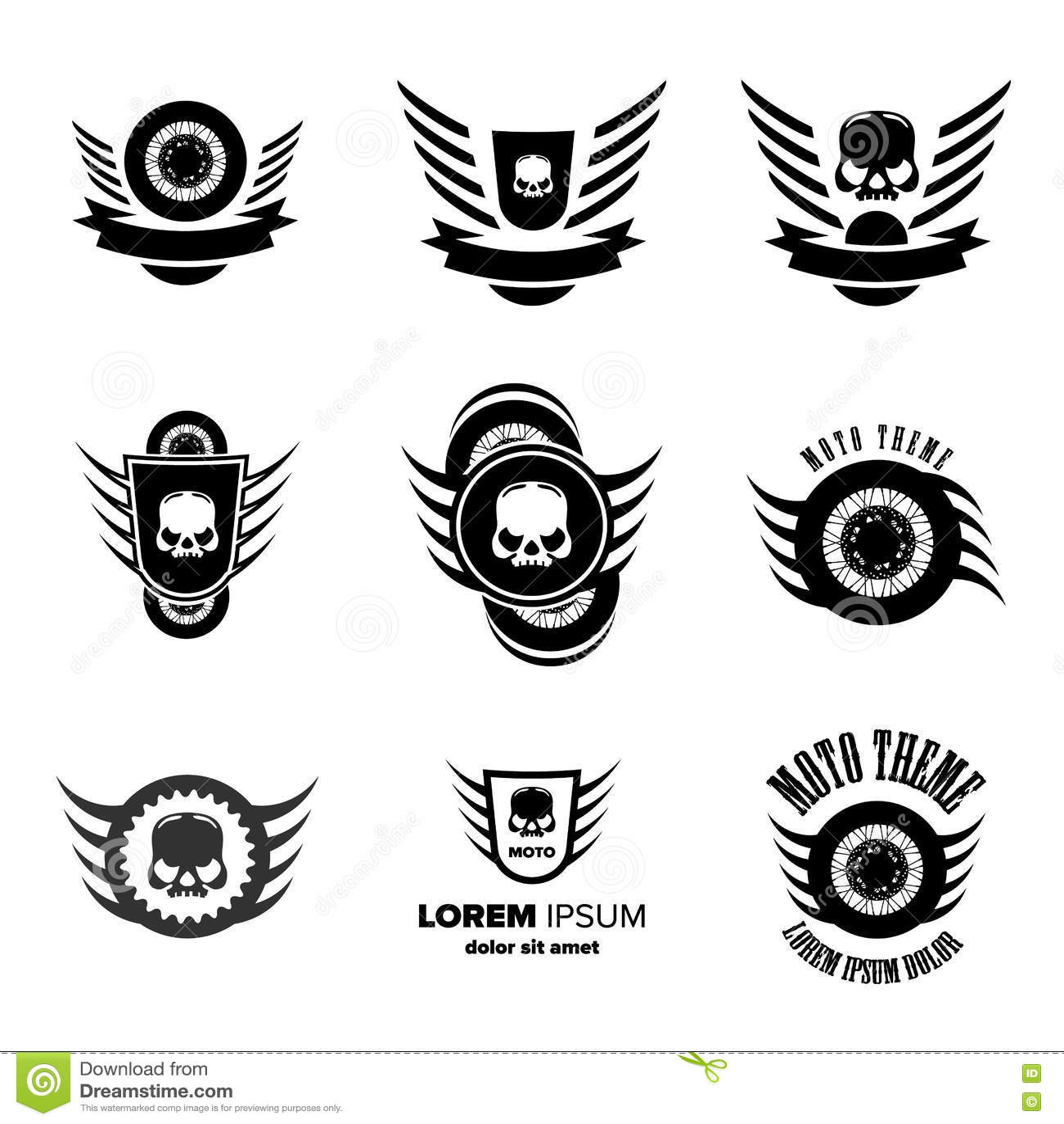Moto Wheel Vector Logo Symbols Stock Vector