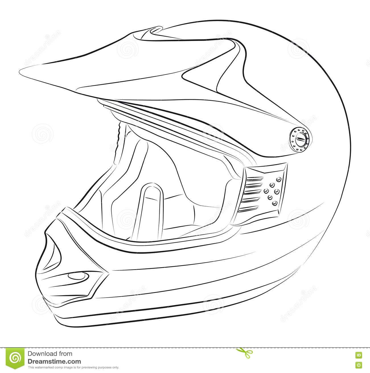 Motocross Helmet Drawing Stock Photography