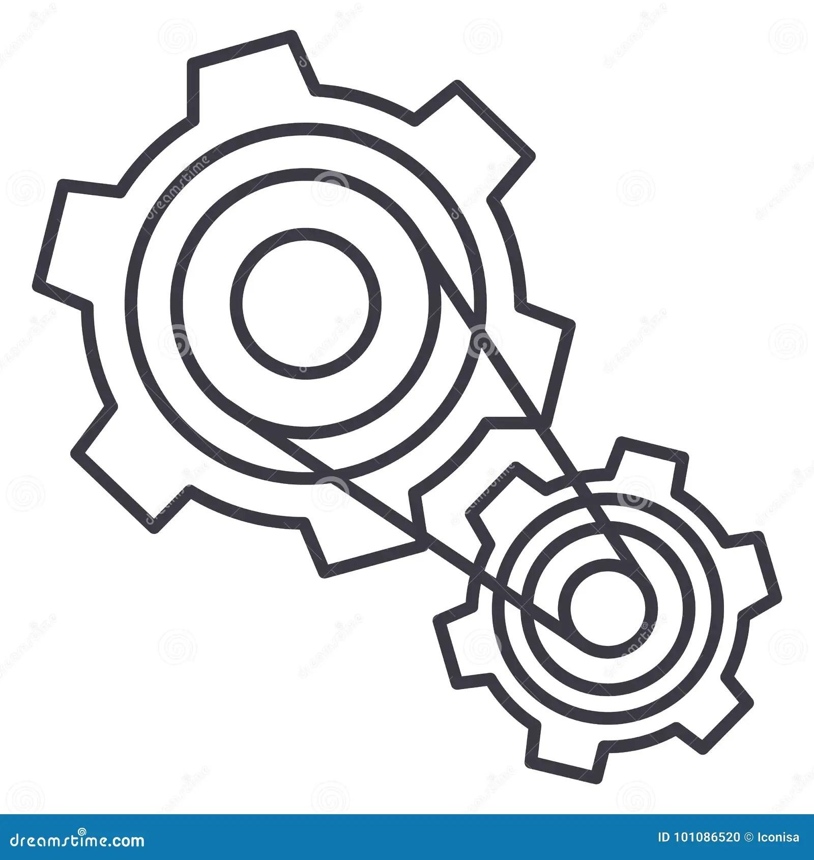 Motor Settings Engine Vector Line Icon Sign Illustration