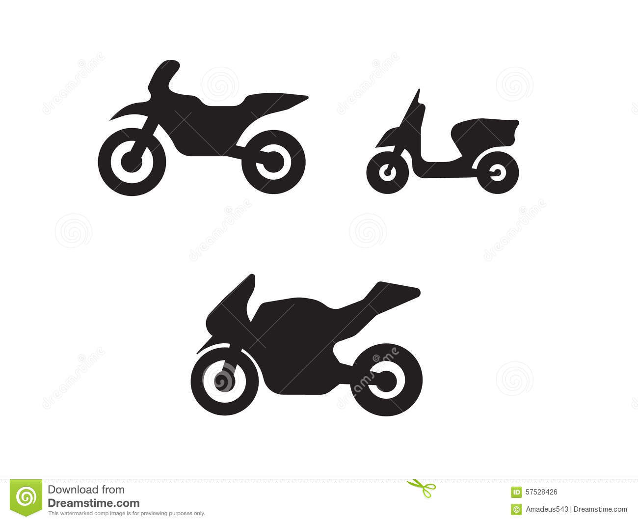 Motorbike Motorcycle Symbols In Black Silhouette Stock Vector