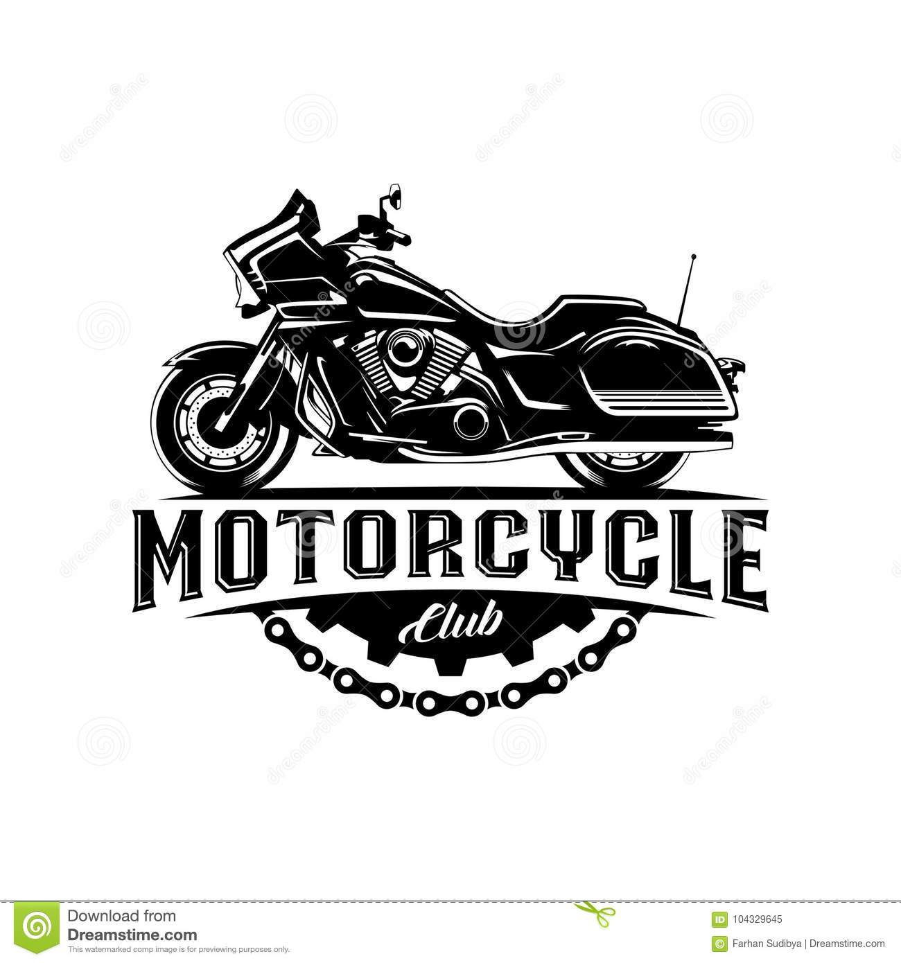 Motorcycle Club Black With Gear Illustration Label