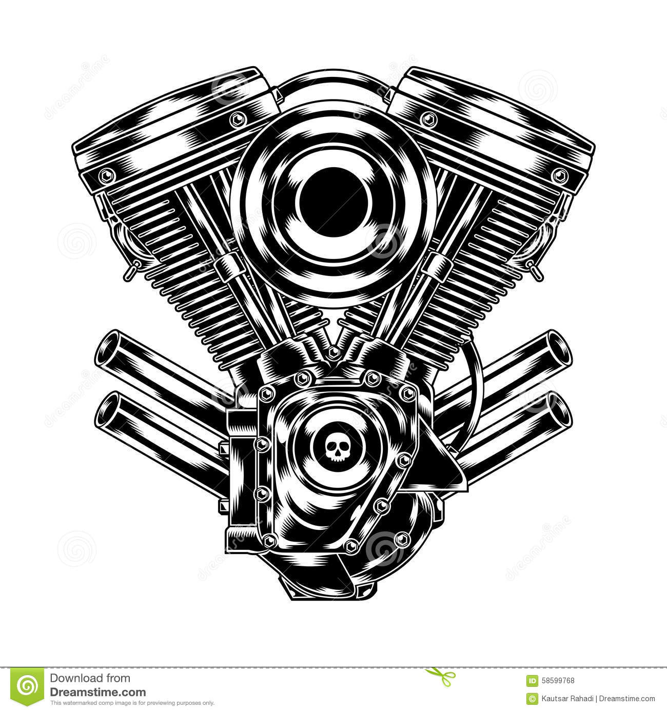 Motorcycle Engine Stock Vector