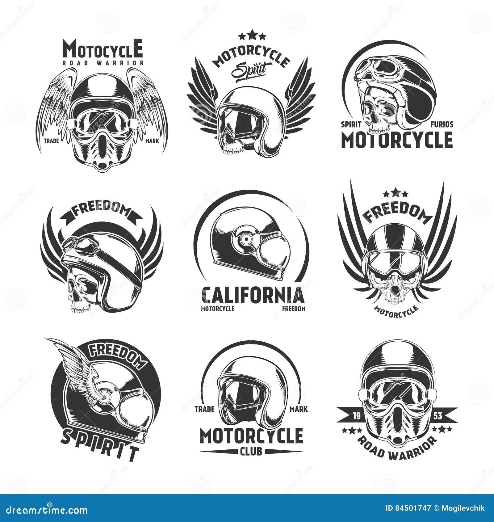 Motorcycle Helmet Design Elements Set Stock Vector