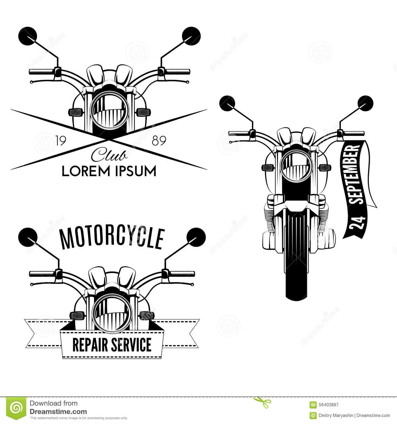 Motorcycle Icons Stock Vector Illustration Of Black