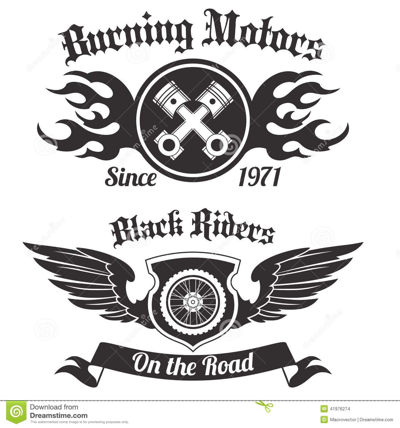 Motorcycle Label Black Stock Vector Illustration Of