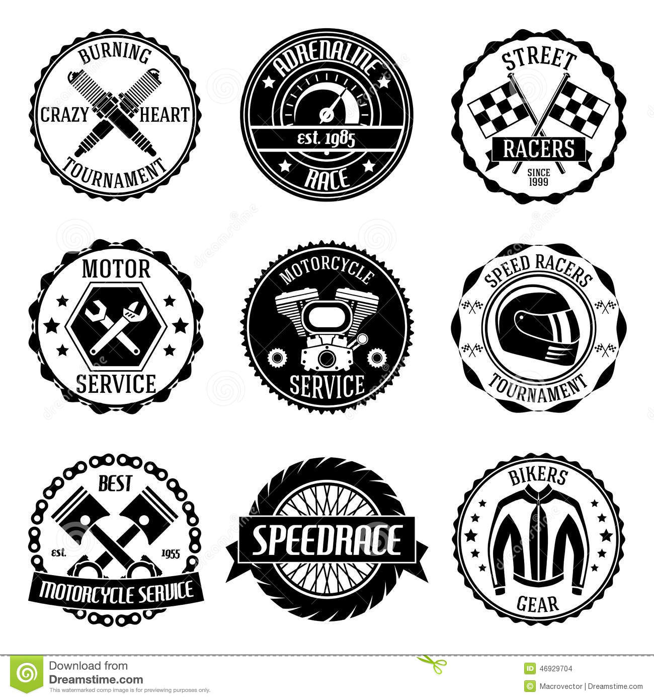 Motorcycle Racings Emblems Stock Vector Illustration Of