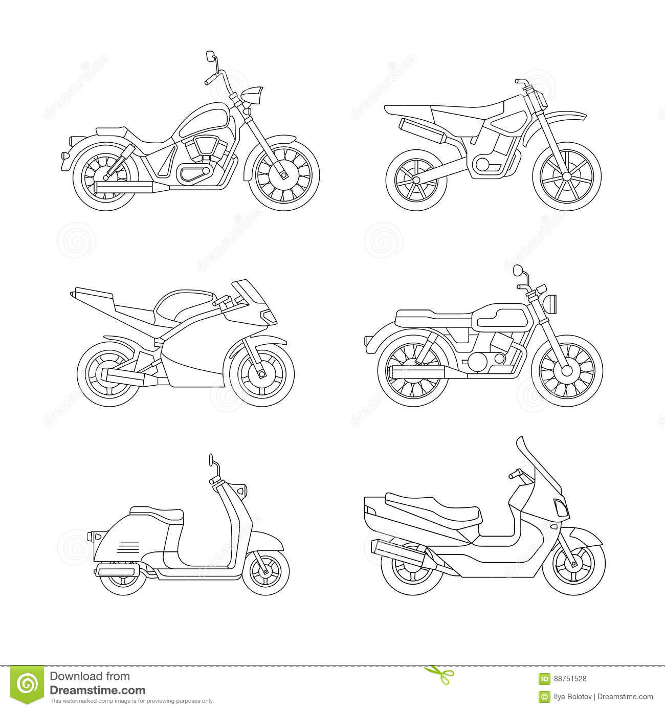 Set Of Classic Motorcycle In Vector Side View Vector