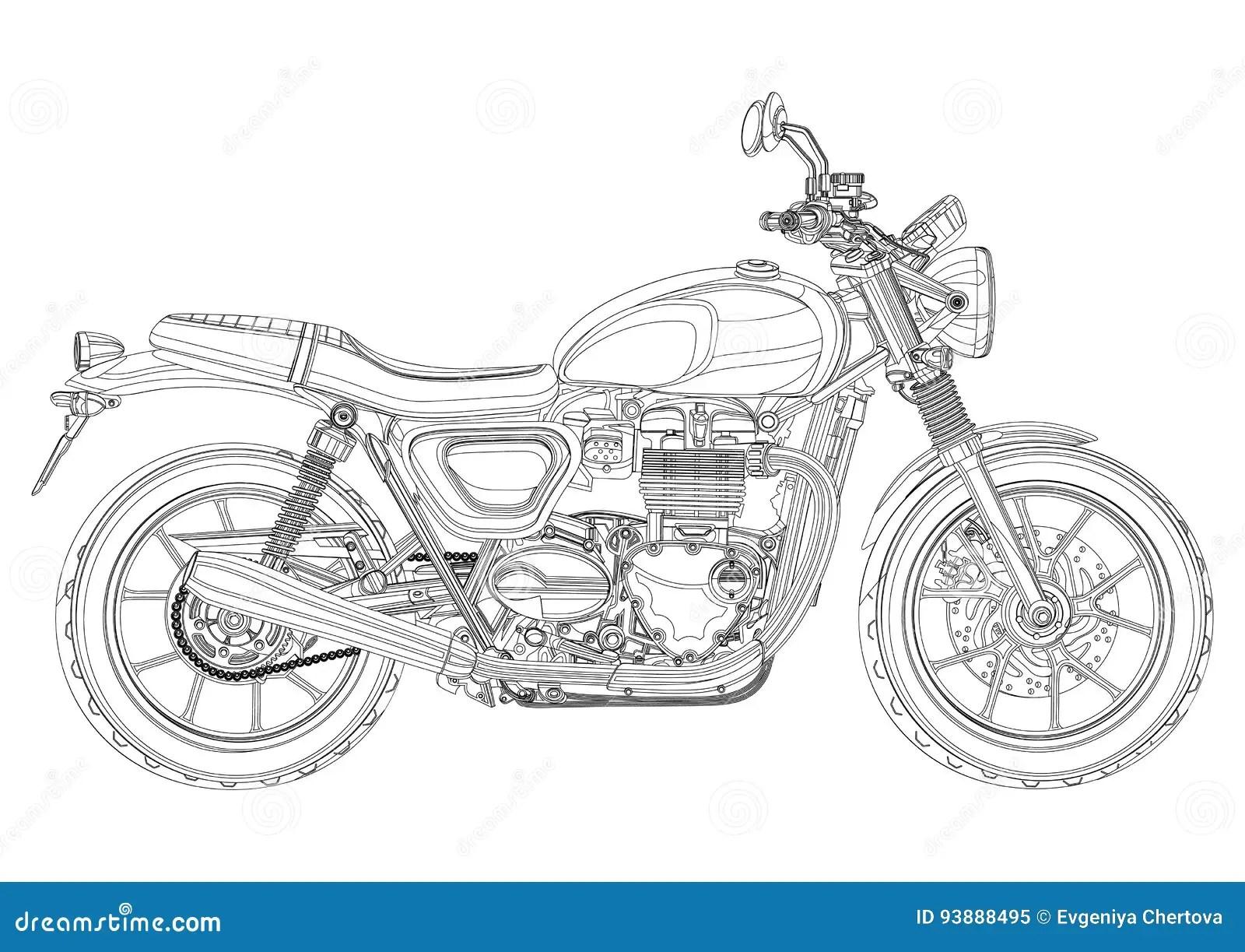Motorfiets Vector Zwart Wit Zwart Witte Schets Kleurend