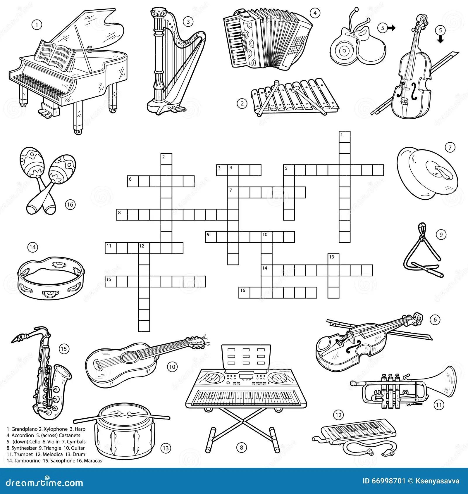 Mots Croise Sans Couleur Au Sujet Des Instruments De