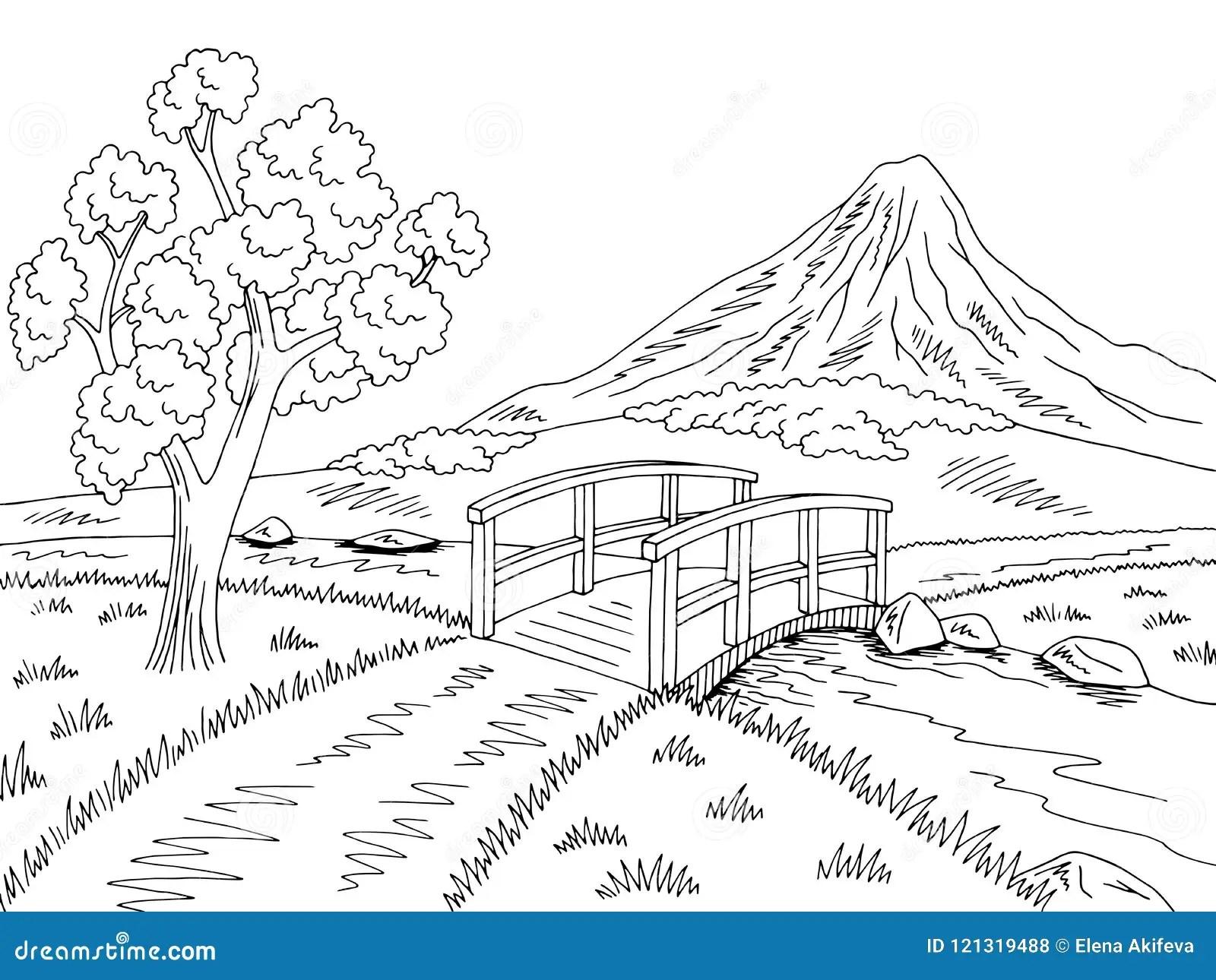 Mountain River Bridge Graphic Black White Landscape Sketch