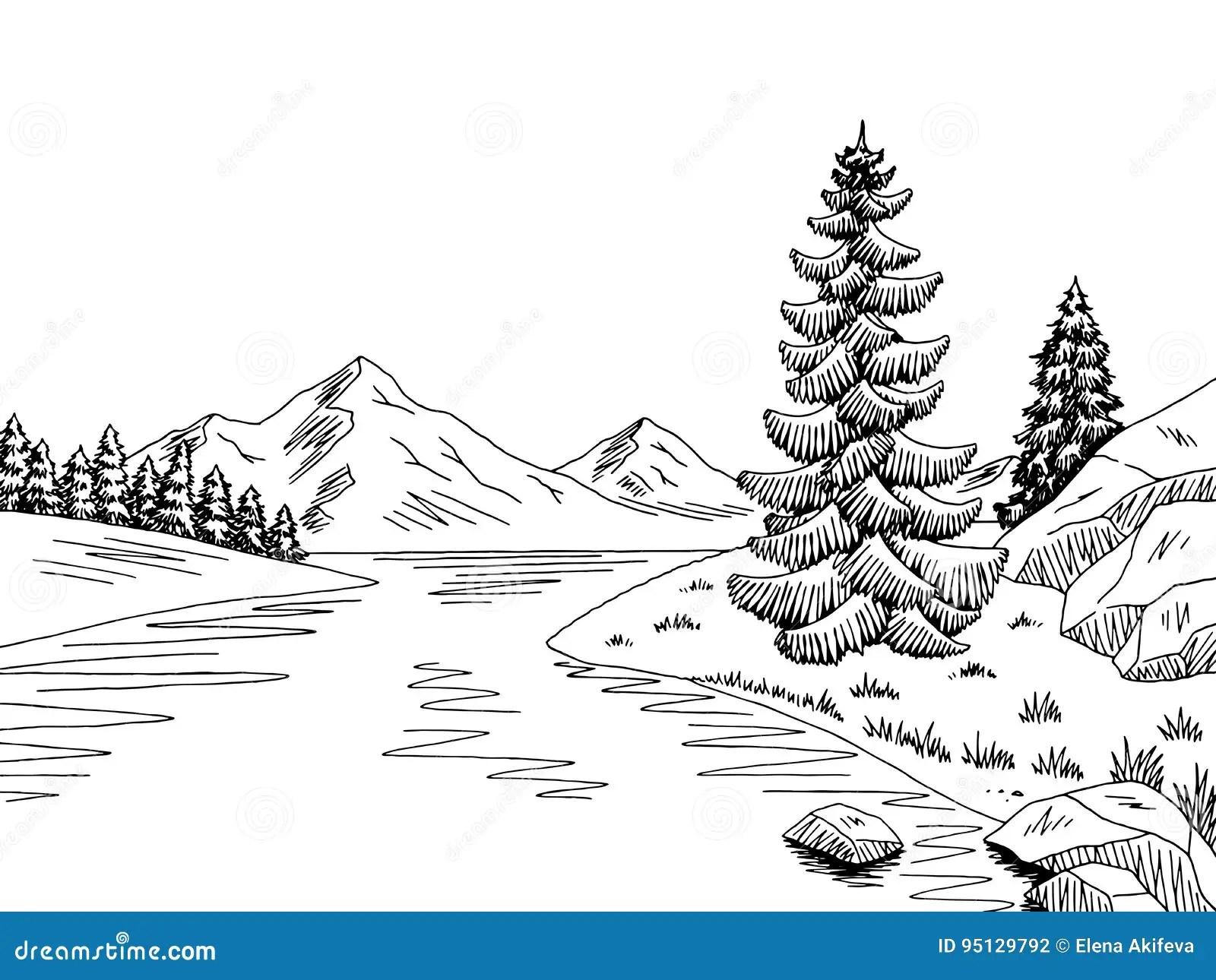 Mountain River Graphic Black White Landscape Sketch