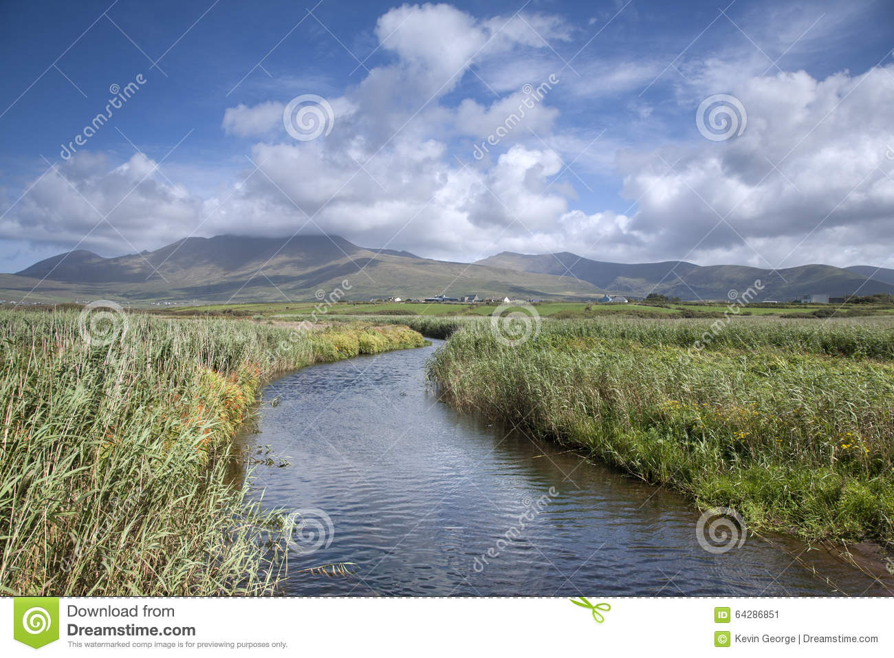 Mountains Rivers And Cloudscape In Dingle Peninsula Stock