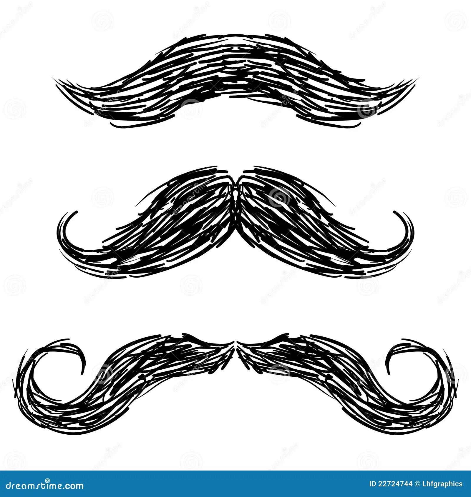 Moustache Sketch Stock Images