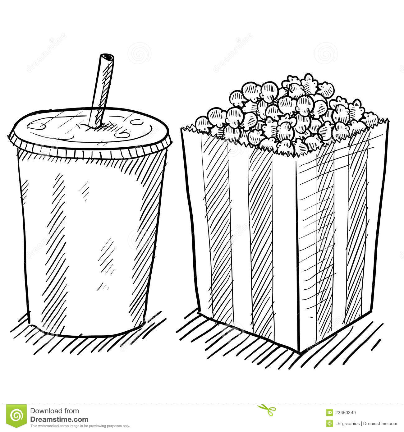 Movie Concessions Drawing Stock Vector Illustration Of